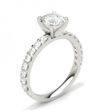Round White Gold Side Stone Diamond Rings