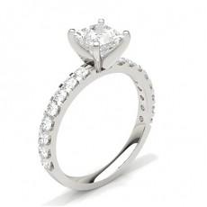 Princess White Gold  Side Stone Diamond Engagement Rings
