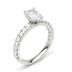 Pear White Gold Side Stone Diamond Rings