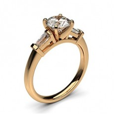 Mixed Shapes Rose Gold  Trilogy Engagement Rings