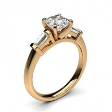 Asscher Rose Gold 3 Stone Diamond Rings