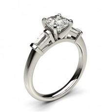 Asscher White Gold 3 Stone Diamond Rings