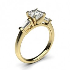Asscher Yellow Gold Trilogy Engagement Rings