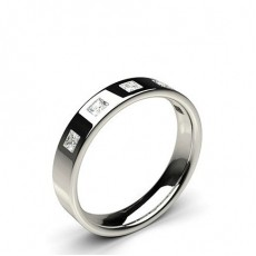 4.00mm Studded Flat Profile Comfort Fit Diamond Wedding Band