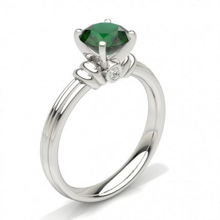Round Emerald Engagement Ring