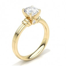 Round Yellow Gold Diamond Engagement Rings