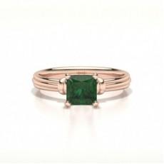Princess Rose Gold Gemstone Diamond Engagement Rings