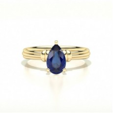 Pear Yellow Gold Gemstone Engagement Rings