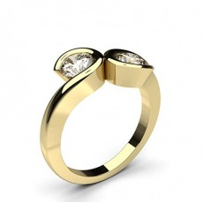 Round Yellow Gold Two Stone Diamond Rings
