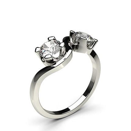 Semi Bezel Setting Plain Two Stone Ring