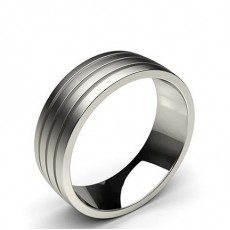 7.00mm Plain Comfort Fit Mens Grooved Wedding Band