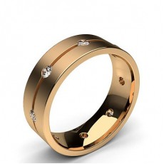 Round Rose Gold Contemporary Men's Wedding Bands