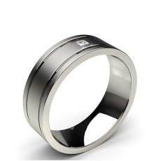 Princess White Gold Contemporary Men's Wedding Bands