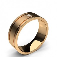 Rose Gold Mens Contemporary Wedding Bands Bands