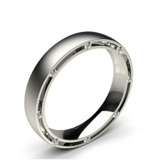 Studded Comfort Fit Mens Wedding Band in 18K White Gold