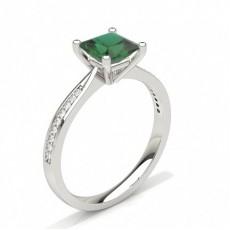 Princess White Gold Gemstone Diamond Rings