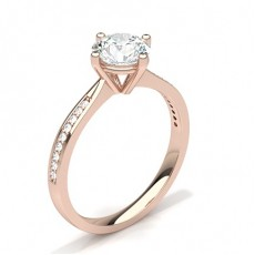 Round Rose Gold Side Stone Engagement Rings