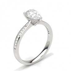 Pear  Side Stone Diamond Rings
