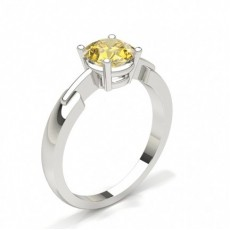 4 Prong Yellow Diamond Solitaire Engagement Ring