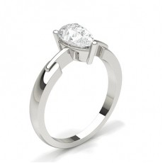 Pear White Gold  Solitaire Diamond Engagement Rings