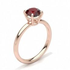 Round Rose Gold Gemstone Engagement Rings