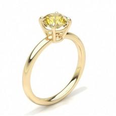Round Yellow Gold Yellow Diamond Engagement Rings