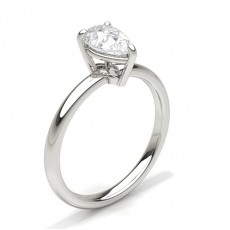 Pear Platinum Classic Solitaire Engagement Rings