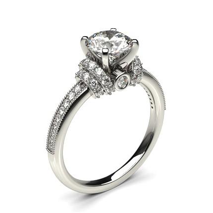 Kaufen Sie Runden Weissgold Seitenstein Diamant Verlobungsring Online