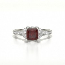 Princess Platinum Gemstone Engagement Rings