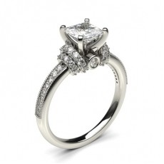 White Gold Round Side Stone Diamond Engagement Ring