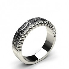0.20ct. Pave Setting Half Eternity Black Diamond Ring