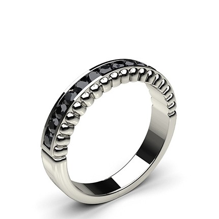 buy 0 35ct channel setting half eternity black diamond ring