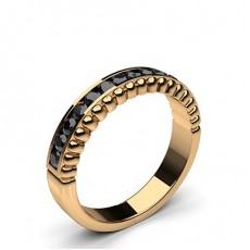 Round Rose Gold Black Diamond Women