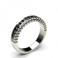 0.35ct. Channel Setting Half Eternity Black Diamond Ring