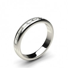 Baguette Platinum  Half Eternity Diamond Rings