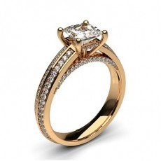 Princess Rose Gold  Side Stone Diamond Engagement Rings