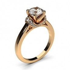 Round Rose Gold Side Stone Diamond Engagement Rings