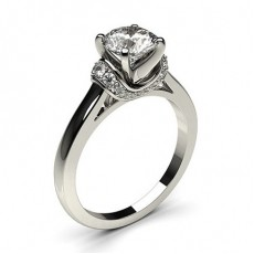 White Gold Side Stone Diamond Engagement Ring