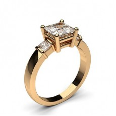 Princess Rose Gold 3 Stone Diamond Rings