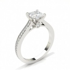 Princess White Gold Side Stone Engagement Rings