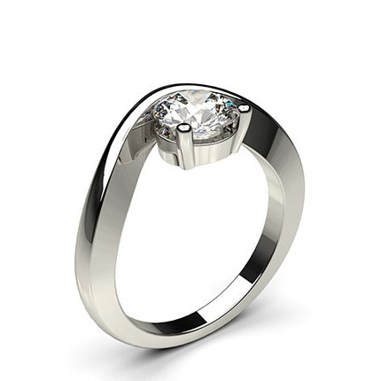 Channel Prong Setting Plain Engagement Ring
