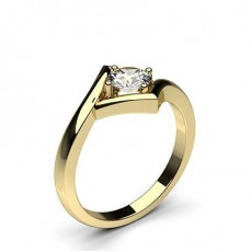 Round Yellow Gold  Classic Solitaire Diamond Engagement Rings