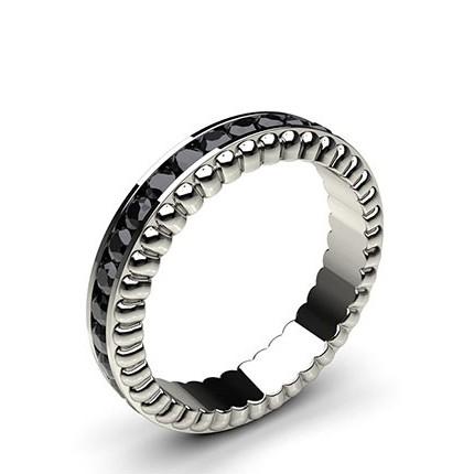 4.40mm Channel Setting Full Eternity Black Diamond Ring