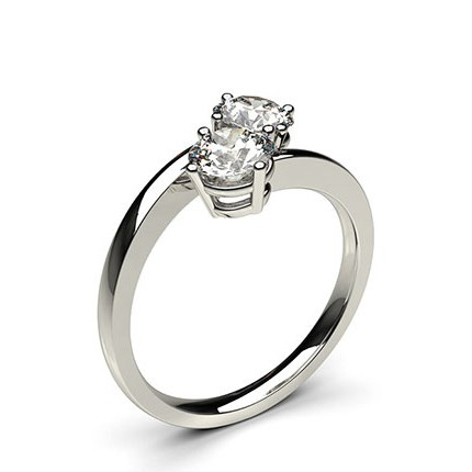 4 Prong Setting Plain Two Stone Ring