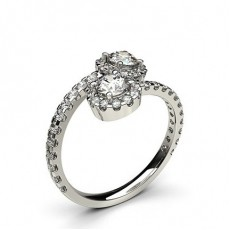 Round Platinum Two Stone Diamond Rings