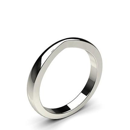 2.3mm Flat Profile Plain Shaped Wedding Band