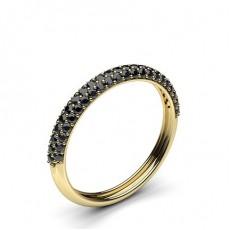 Round Yellow Gold Black Diamond Women