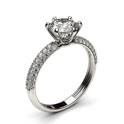 6 Prong Setting Round Diamond Side Stone Engagement Ring