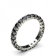 Prong Setting Full Eternity Black Diamond Ring