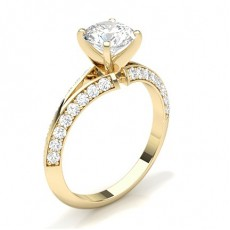 Round Yellow Gold Side Stone Engagement Rings